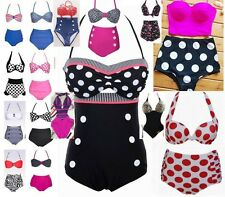 High Waist Polka Dot Vintage Retro Push-Up Bandeau Bikini Swimsuit Swimwear Set