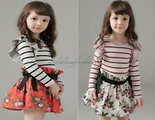 Girls Baby Toddler Princess Striped Top Splicing Floral Prints Mini Dress 2-7Y