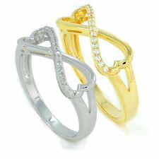 925 Sterling Silver infinity heart shape ring rhodium or 18K gold plated with CZ