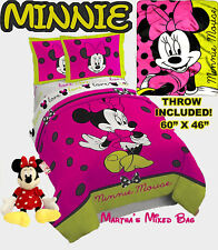 MINNIE MOUSE Girls HOT PiNK Black Polka Dot Twin Full Sizes Comforter Set+Throw