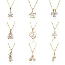 Multi Style Women Yellow Gold Filled Crystal Pendant Dangle Charm Chain Necklace