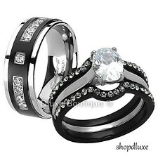 HIS HERS 4PC BLACK STAINLESS STEEL & TITANIUM WEDDING ENGAGEMENT RING BAND SET