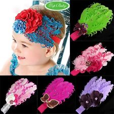 Baby Girl Infant Toddler Headband Peacock Feather Flower Bow Hair Band e