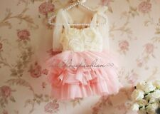 NWT Girls Toddler Princess Lace Suspender Rosette Glitter Tulle Party Dress 1-6Y