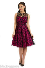 NEW PINK DRESS ROCKABILLY ANTIQUE RUBY 50's VINTAGE PROM LADIES COCKTAIL 8-14