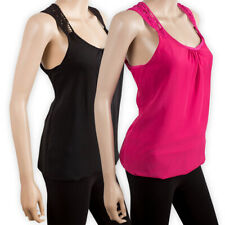 Womens Ladies Sleeveless Layered VEST Casual Girls Strappy TOP T-SHIRT Cami