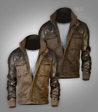 New Free US Postage Mens Military Army Style Jacket Bronze Fuax Leather Shoulder