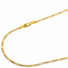 14K Solid Yellow Gold 2mm Concave Figaro Chain Necklace