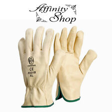 12 Pairs Rigger Gloves Cow Leather Beige Riggers Quality Work Glove Any Size