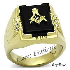 Men's 14k Gold Plated Stainless Steel AAA CZ Masonic Freemason Ring Band Sz 8-13