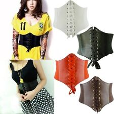 Hot Women Waist Cincher Corset Black Wide Band Elastic Tied Waspie Belt 5Colors