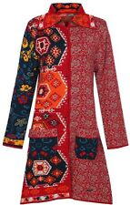 Desigual Red Patchwork Pattern Knit Tench Coat Jumper Pullover Cardigan