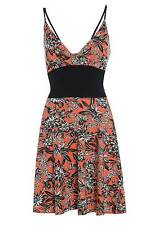 Womens Floral Summer Strappy Dress Ladies Flared Beach Top 8-14