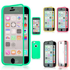 Wrap Up TPU Case Cover Phone Built In Screen Protector For Apple iPhone 5C B52U
