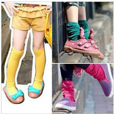 Baby Kids Toddler Candy Colors Cotton Socks School Knee High Socks Tights 1-8Y
