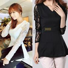 XD#3 Lady Fashion Lace Peplum Slim Shirt Chiffon Long Sleeve Sexy V-neck Blouse