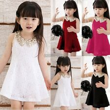 Baby Girls Kids Lace Sequin Party Dress Princess Sleeveless Tutu Skirt Sundress