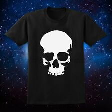 S-XXL Men Black Short Sleeve Tee T-Shirt Skull Print Logo Band Rock Fashion New