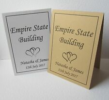 Personalised Wedding Table Name Place Cards Free Standing IVORY Top Number