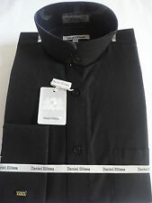 Mens Solid Black Nehru Collarless Banded Collar French Cuff Dress Shirt DS3002C