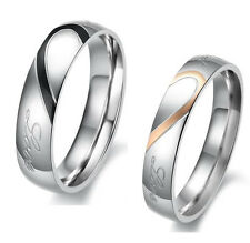 Heart Shape Matching Titanium Steel Lovers Promise Ring Couple Wedding Bands e