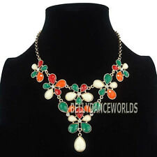 GOLDEN CHAIN CZ CRYSTAL FLOWER PETALS PENDANT BIB NECKLACE VINTAGE RETRO JEWELRY