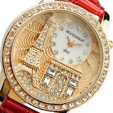 Stylish Lady Eiffel Tower Crystal Dial Leather Bracelet Quartz Wrist Watch B5CU