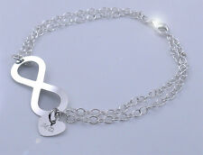 SILVER BRACELET 925 INFINITY SIGN + HEART FREE ENGRAVING