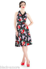 New Vintage Black Floral Audrey Cocktail Dress Flare 50 Party Prom Wedding Party