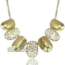 VINTAGE RETRO OVAL SHAPE HOLLOW CARVING PENDANT BIB NECKLACE GOLDEN/SILVER CHAIN