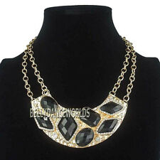 RHINESTONE IRREGULAR FAUX GEMSTONES PENDANT BIB STATEMENT NECKLACE GOLDEN CHAIN