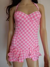 Juicy Couture Gingham-Check under-wired push-up swimdress swimsuit S L $173 pink