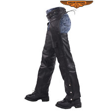 Unisex Motorcycle Chaps Braided Mesh Lining Top Cowhide Leather Chaps  C326-04
