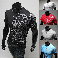 Men's Stylish Casual Dragon Graphic Tattoo Round Neck Short Sleeves T-shirt Tees