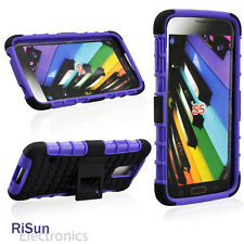 For Samsung S5 Heavy Duty Robot TPU Back Stand PURPLE Case & screen protector