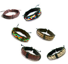 1.2cm Trendy Multi Black Brown Weaving Pattern Leather Bracelet Wristband Unisex