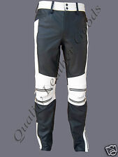 MENS LEATHER JEANS PANTST TROUSER BIKER DOUBLE KNEE ZIP FRONT BACK PADDING