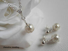 Ivory Pearl Drop Necklace Earring Set Single Pearl Necklace Pearl Drop Pendant