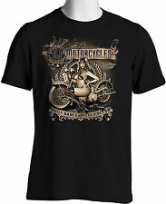 Old Motorcycles T shirts Biker Babes Beer Mens Black T-shirt S to 6XL and Tall