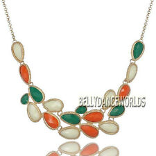 GOLDEN CHAIN WATER DROPS RESIN BEADS PENDANT BIB NECKLACE VINTAGE RETRO JEWELRY