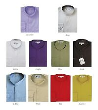 Men's Mandarin Collar Solid Dress Shirt #01 Classic Cotton Blend Hidden Button