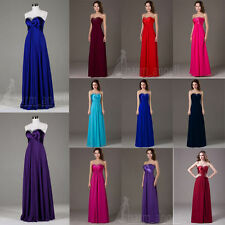 New Sweetheart Long Chiffon Bridesmaid Dress Formal Prom Party Evening Gown 4-18