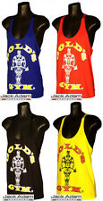 Golds Gold's Gym Vest, Stringer, Racerback, Bodybuilding, Fitness,Tank. S M L XL