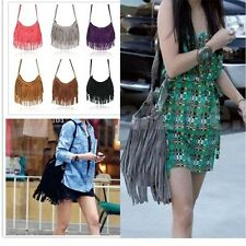 Women Celebrity Tassel Suede Fringe Shoulder Messenger Handbag Cross Body Bag