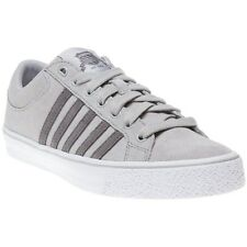 New Mens K-Swiss Grey Adcourt La-Sde Vnz Suede Trainers Tennis Style Lace Up