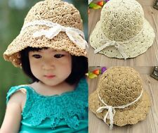 Hand-Woven Raffia Straw Hat Kids' Beach Sun Hat Baby&Girls Collapsible Visor Hat