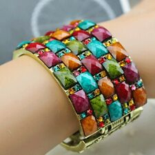 Fashion Colorful Retro Bohemian Cuff Wide Bangle Golden Hollow Out Bracelet New