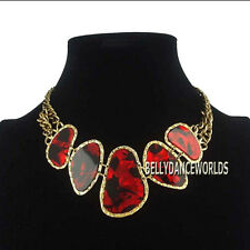 VINTAGE RETRO GOLDEN CHAIN IRREGULAR ACRYLIC STONES PENDANT BIB CHOKER NECKLACE