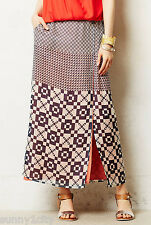 NEW Sz S Anthropologie Geo-Swatch Maxi Skirt By Babakul $128 Flattering Silk