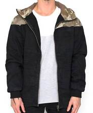 Nena & Pasadena Heater Parka Mens Jacket Black/Camo Hoody: Cotton
